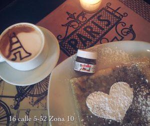 crepa, luna, miel, café, nutella, corazón